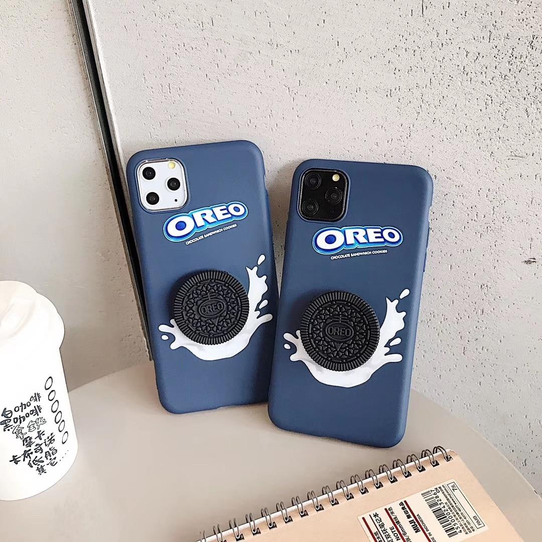 Novo 3d oreo leite chocolate biscoito silicone macio capa casos para iphone 6 s 11 pro 7 plus 8 mais x xs xr max cookies telefone coque