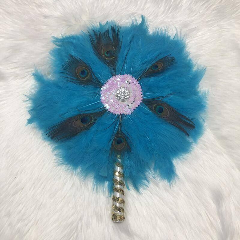 19color africano disponible pluma estilo ventilador con piedras lentejuelas nigeriano boda, pluma ventilador para boda fiesta