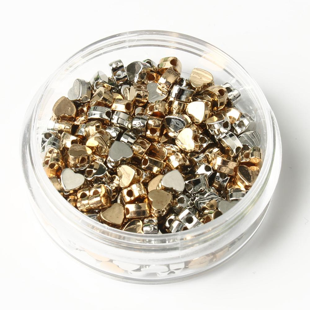 aliexpress.com - 100pc/Lot Heart Shape CCB Bead Natural Gold Silver Plated Stone Supply Stone Loose Ore For Beads Jewelry Making Accessories