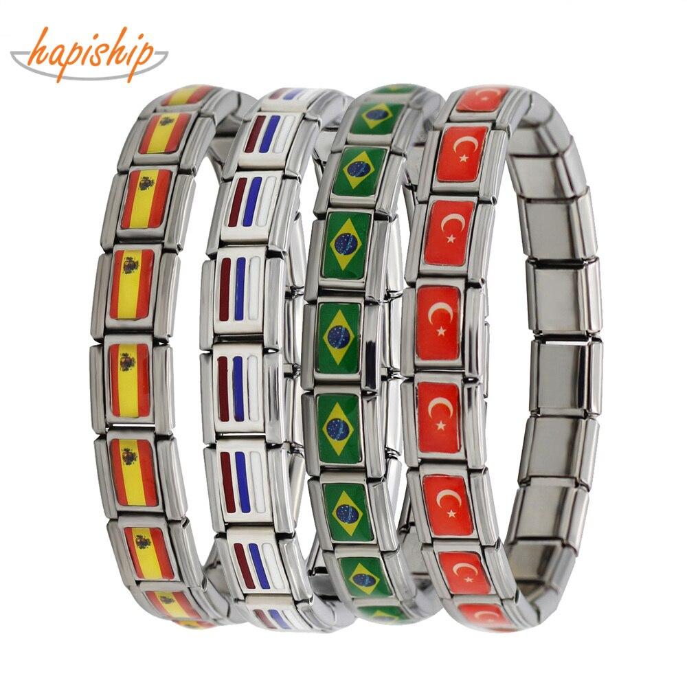 Hapiship 2018 New Fashion Jewelry Spain/Brazil/Turkey National Flag Stainless Steel 18 links Bracelet Bangle For Women Men G027