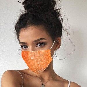 Fashion Shiny Rhinestone Mask Elastic Reusable Washable Diamond Printed Masks Face Bandana Face Decor Women Jewelry