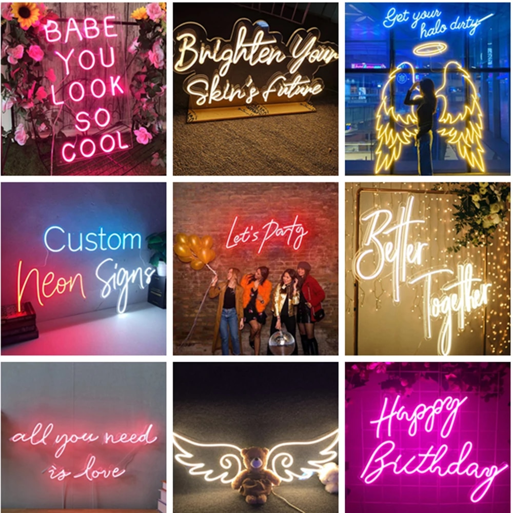 Rebow Custom logo Led Neon Sign Wedding Party Birthday Name Personalized Free Design For Room Bedroom Lights Party Decor Shop enlarge
