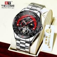 Tevise Brand 2021 New Fashion Men's Watch Metal Hollow Mechanical Watch Waterproof Steel Band Analog