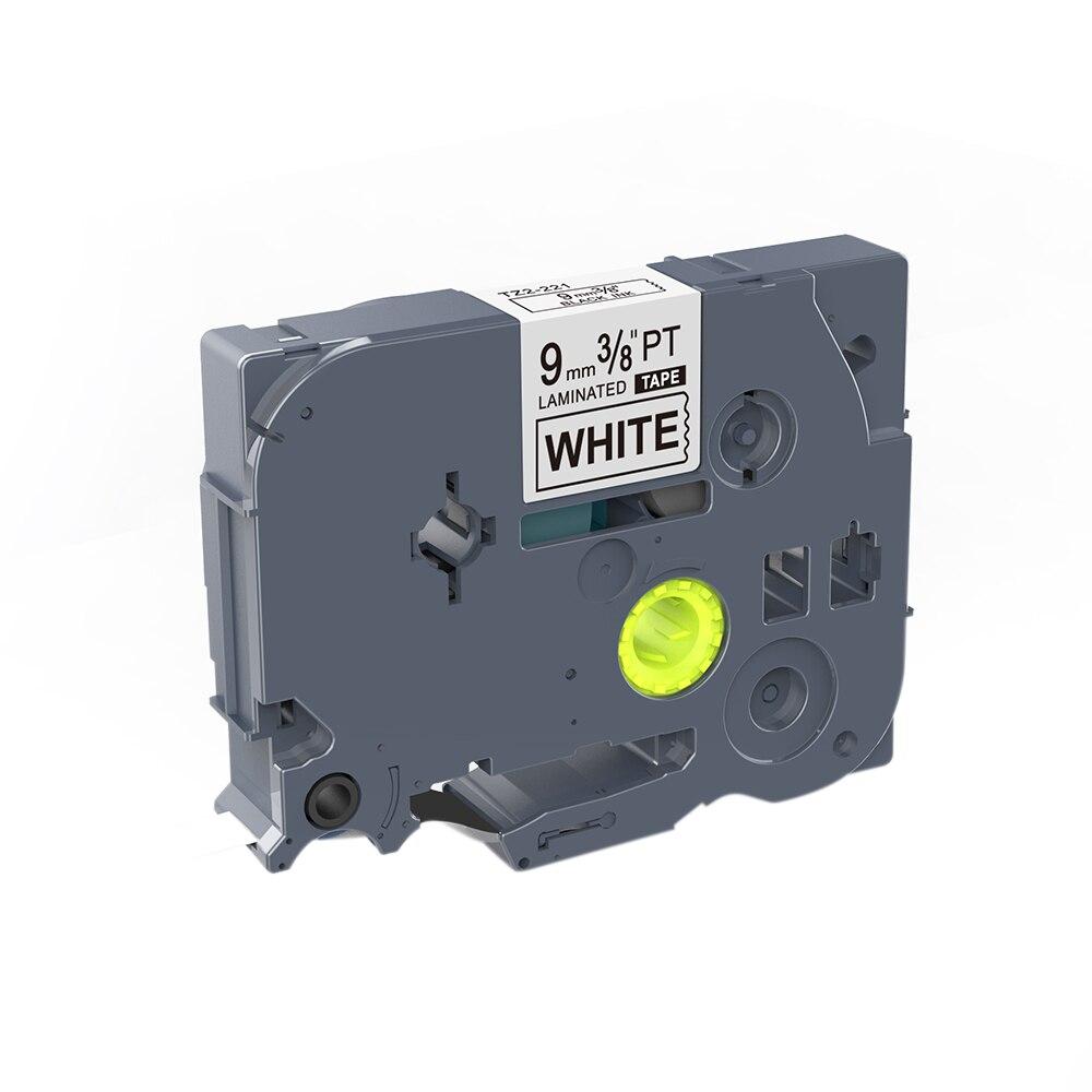 1 Uds TZ-221 TZe221 cinta de etiquetas adhesivas laminada cinta de impresora 9mm negro sobre blanco Compatible para etiquetadoras Brother p-touch