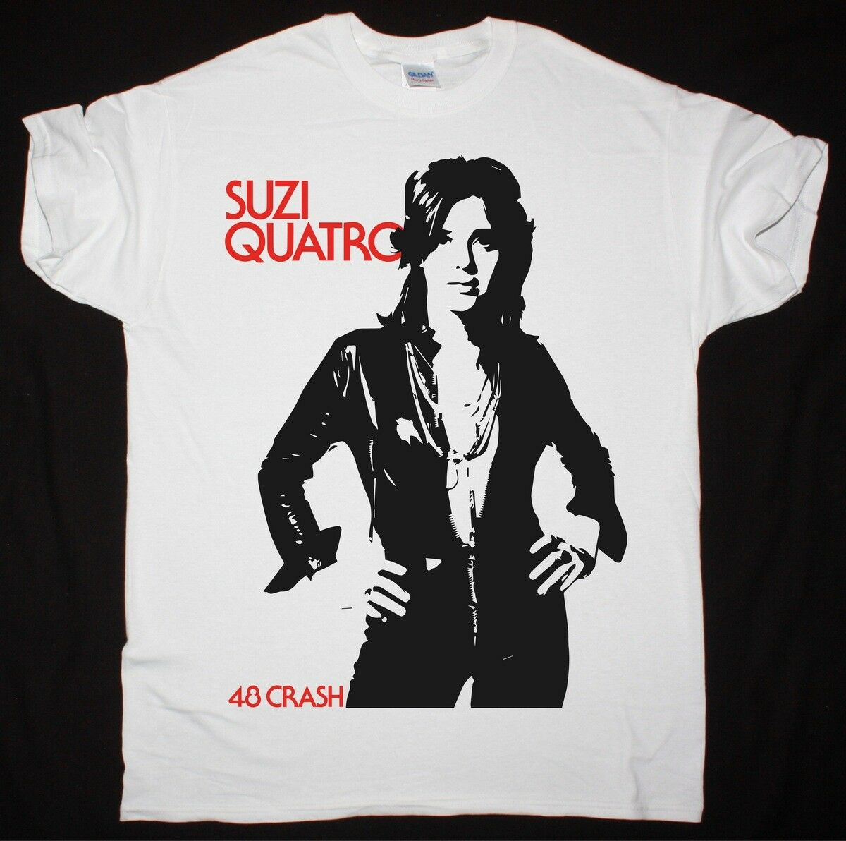 Suzi Quatro 48 accidente blanco T camisa Rock duro dulce Nazaret Slade Smokie