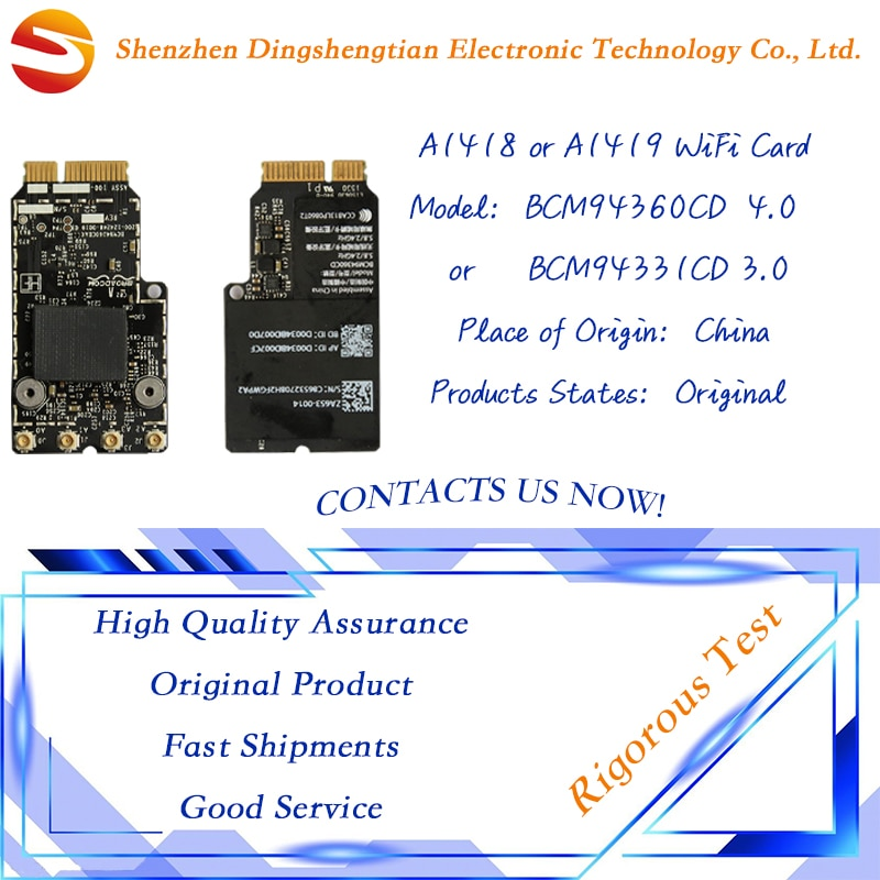 Genuine Wireless WiFi Card  BCM94360CD 4.0 BCM94331CD 3.0 for macbook air A1418 A1419 2012 2013 2014 Year