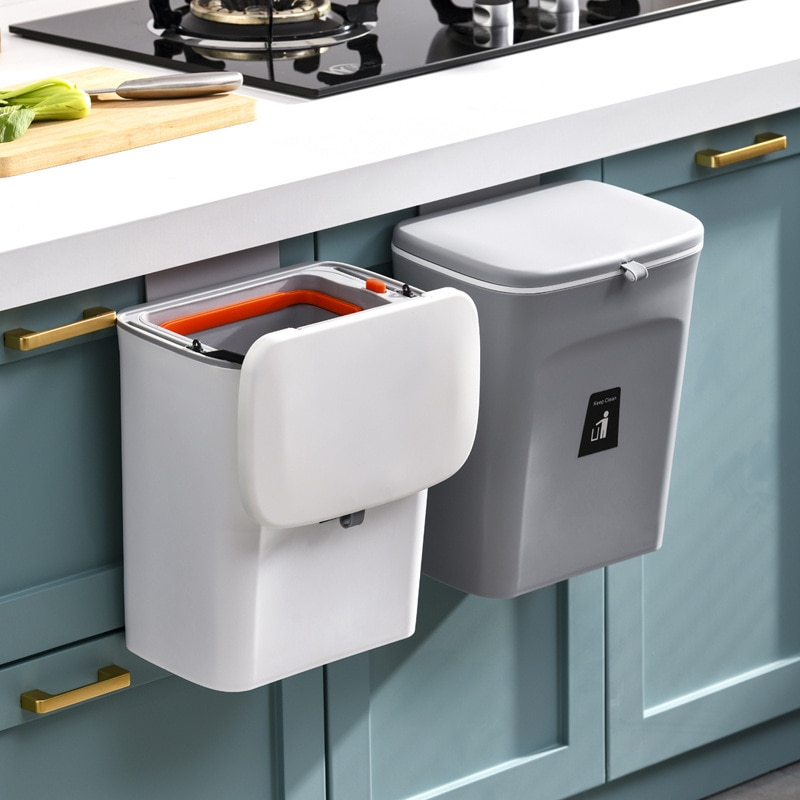 9L Pull-Out Trash Can Kitchen Wall-Mounted Cleaning Bucket Independent Inner Tube Trash Basket Household Sealed Deodorant enlarge