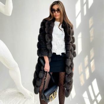 Fashion 110cm Long Fox Fur Coat Turn-down Collar Women High Quality Genuine Fox Fur Coat Dark Sable Color Natural Fur Overcoats