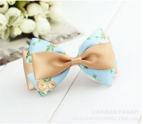 Women's Korean lace big bow hair accessories handmade flowers professional bow duckbill clip hair ring spring clip HDJ032
