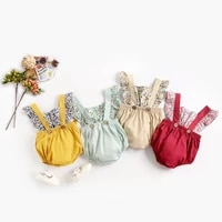 summer baby girls rompers ruffles princess baby one piece suspenders climbing clothes floral bag fart clothes newborn