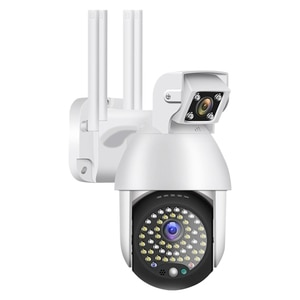 Dual-Lens PTZ Dome Camera, Wireless WiFi Surveillance Camera,2 Million Pixels, 1080P HD(EU Plug)