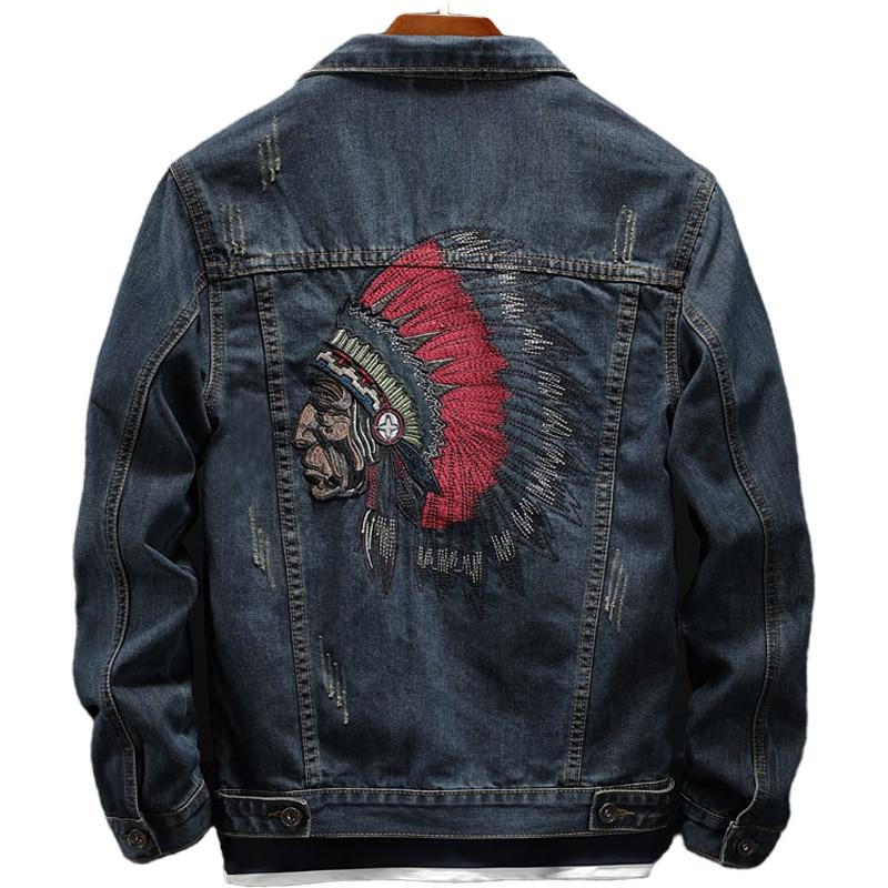 куртка утепленная jackets industry jackets industry ja036emhcit6 Autumn Denim Jacket Men's Trend Korean Heavy Industry Embroidery Large Size Motorcycle Clothes Men Jean Jackets Blouson Homme