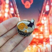 Japanese Anime noodles Enamel Pin Japanese noodles Cartoon Ramen Anime Brooches Denim Shirt Lapel Pins Badge Jewelry Gifts