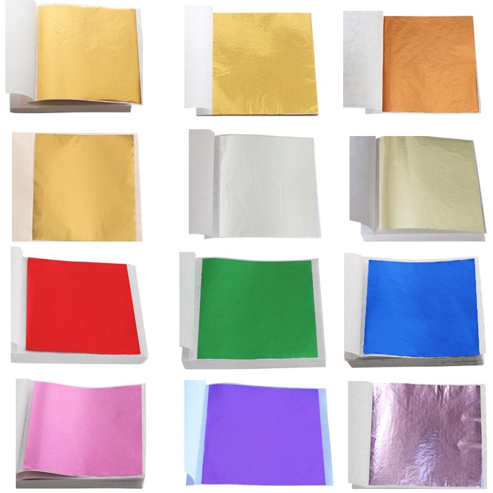 Скользящие листы с имитацией золотого листа, цветные фольгированные бумажные Золотые листы для художественных промыслов, статуэтки, украш...