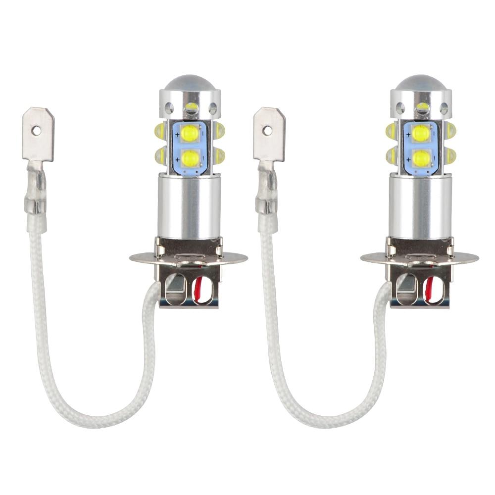 H2CNC 2 stücke 12 v-24 v H3 6000 k Super Wit 50 w High Power LED Mistlamp lampe laufende Lichter Auto Foglight