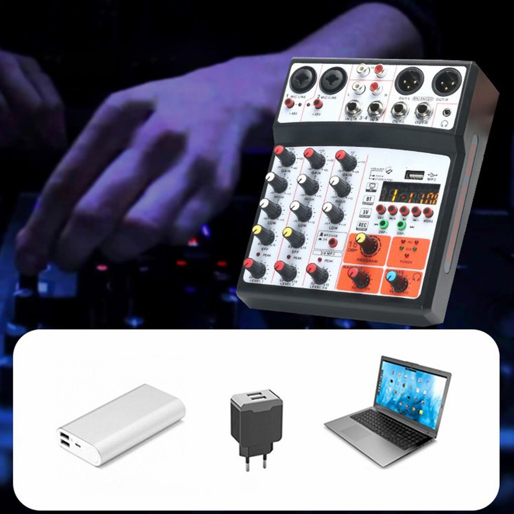 Mini Mixer Audio DJ Console 4-channel with Sound Card, USB, 48V Phantom Power for PC Recording Singing Webcast Party enlarge