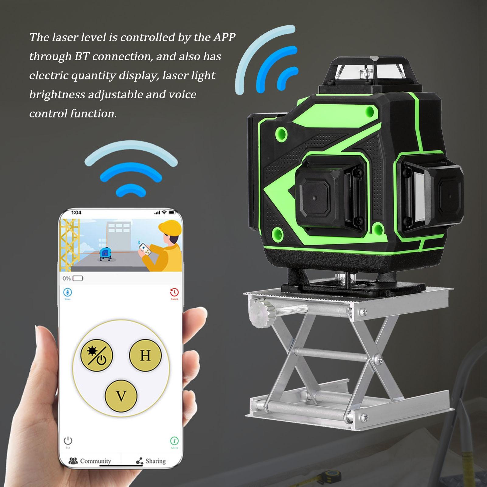 16 خط 4D مستوى الليزر الذاتي التسوية 360 الأفقي والرأسي عبر سوبر قوية مستوى الليزر الأخضر أدوات الليزر مستوى الليزر