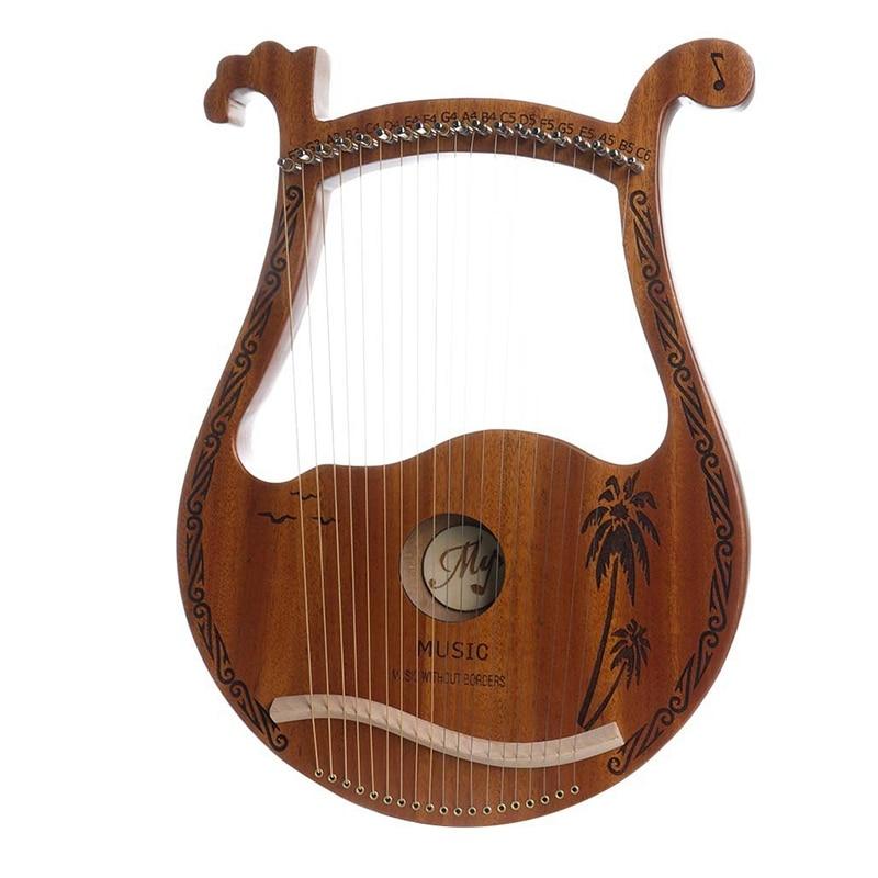لطيف الغزلان شكل الرأس Lyre القيثارة ، المحمولة خشب الماهوجني 19 سلاسل القيثارة مع ضبط عصا للأطفال عشاق الموسيقى المبتدئين