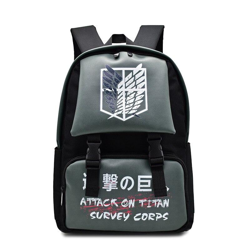 Anime Backpack Waterproof Backpack Attack on Titan Cartoon Bagpack Nylon Fashion Bag New Style Trave