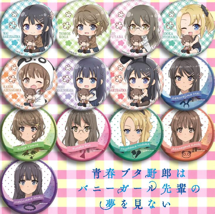 13pcs/1lot Anime Sakurajima Mai Koga Tomoe Futaba Rio Toyohama Nodoka Figure 4983 Badges Round Brooch Pin Gifts Kids Toy