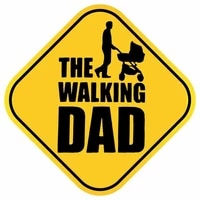 dawasaru the walking dad baby on board warning car stickers waterproof decals laptop motorcycles auto accessories pvc15cm15cm