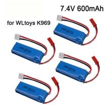 Upgrade 7.4V 600mAh 601844 Lipo Battery with USB charger for WLtoys K969 K979 K989 K999 P929 P939 RC