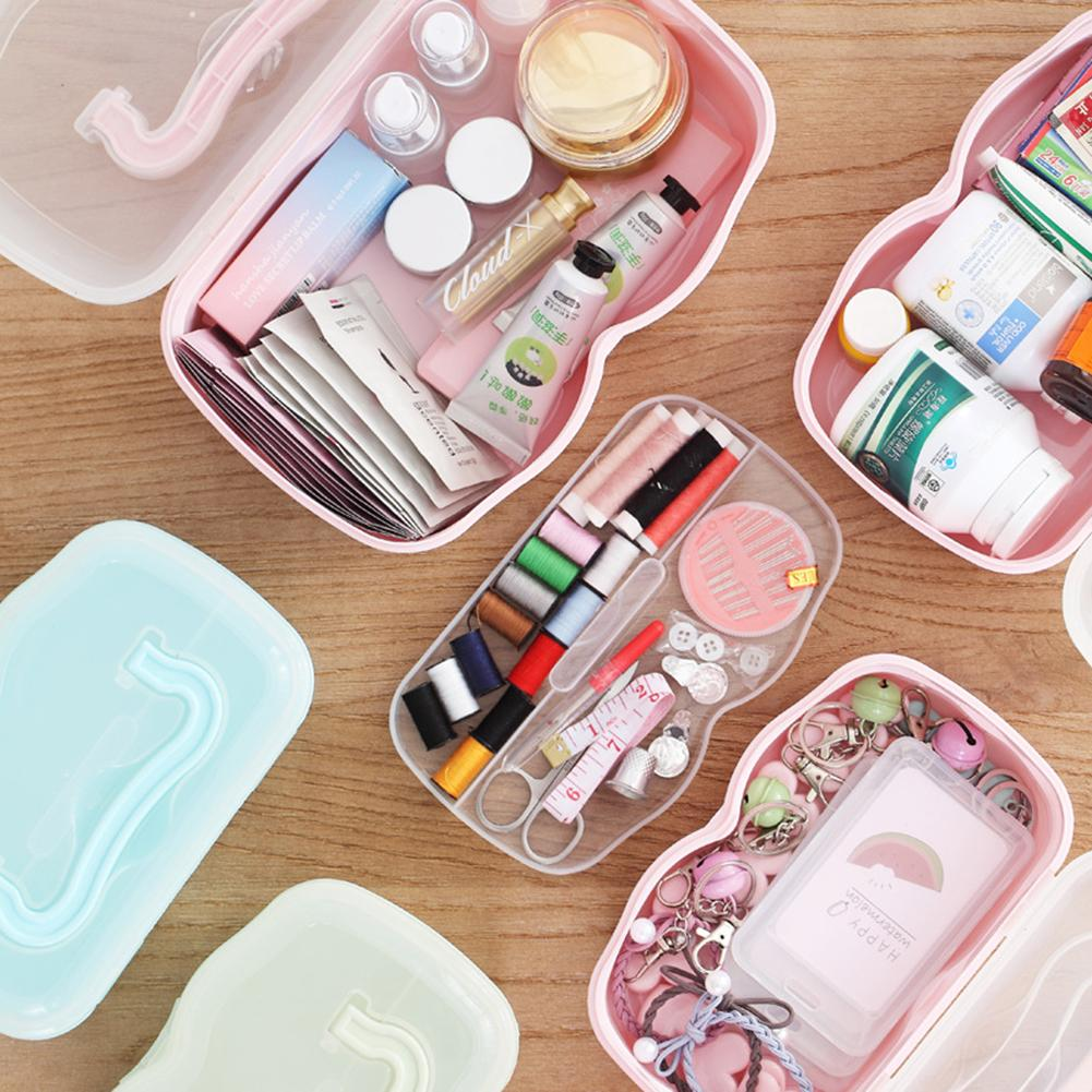 Портативный органайзер для макияжа пластиковая коробка для косметики маленький держатель для макияжа медицина Шитье с резьбой гвоздь-поль...