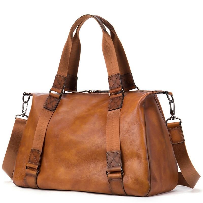 New Genuine Leather Men Duffle Bag Luggage Travel Bag Men Vintage Large Capacity Messenger Weekender Bags For 15.6
