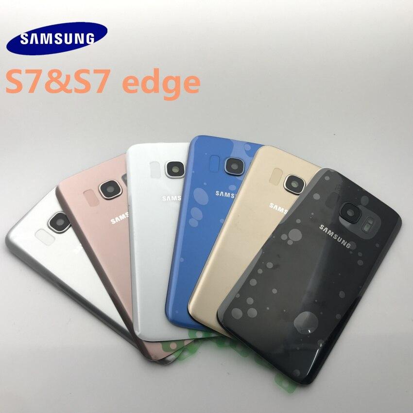 Samsung galaxy s7 g930 g930f s7 edge, bateria de cobertura traseira, habitação, porta, peças de reparo + vidro da câmera armação de lentes