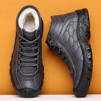 Зимние мужские кожаные кроссовки ZSAUAN с шерстяной подкладкой, высокие уличные мужские ботинки ручной работы, серые черные массивные ботинки...