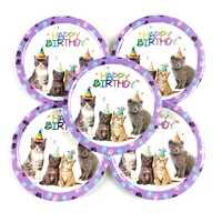 10pcslot pet cat theme plates happy birthday events party tableware supplies kids boys favors dishes baby shower decoration