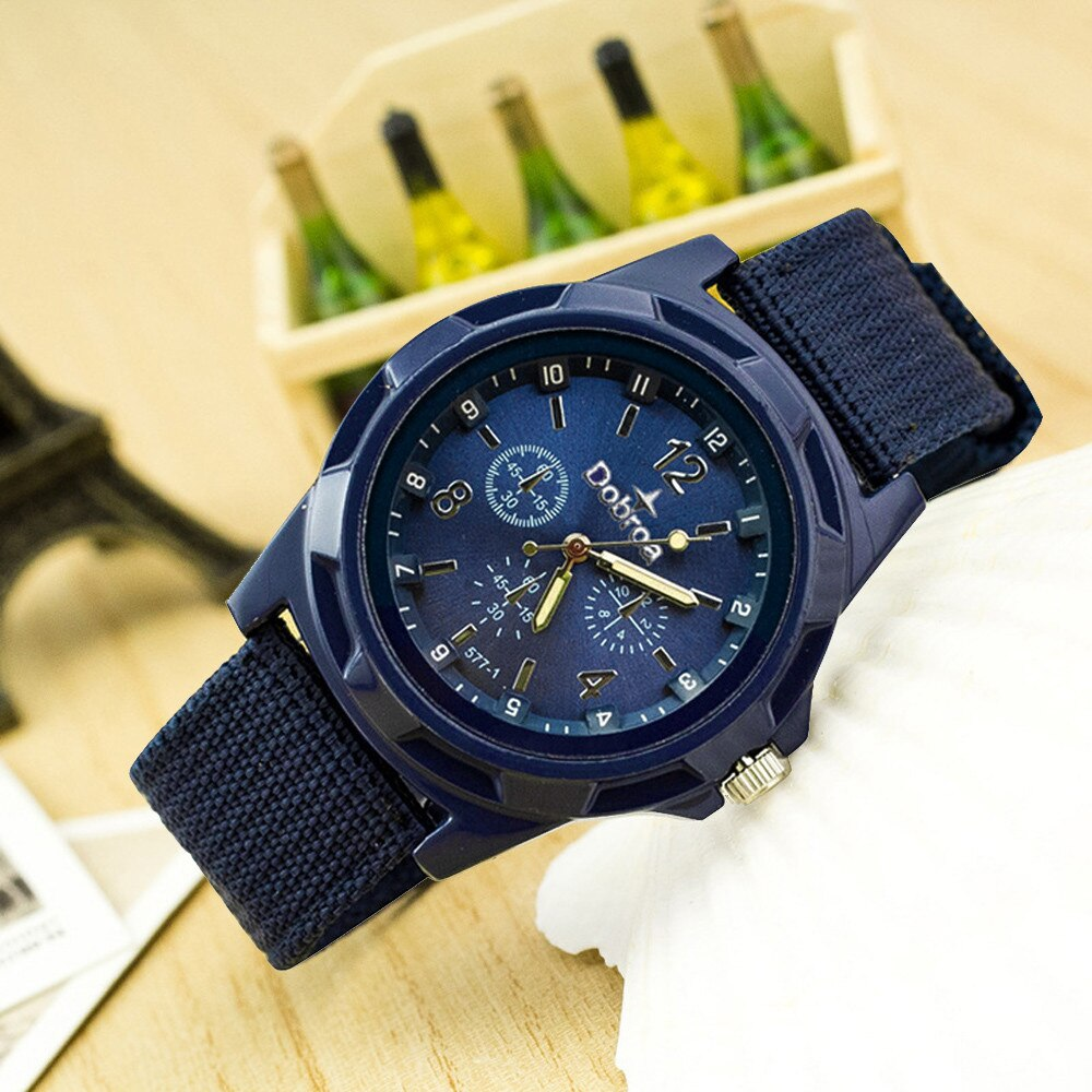Simple Fashion Sport Men Watch Canvas Belt Band Watch Stainless Steel Analog Wrist Watches Business