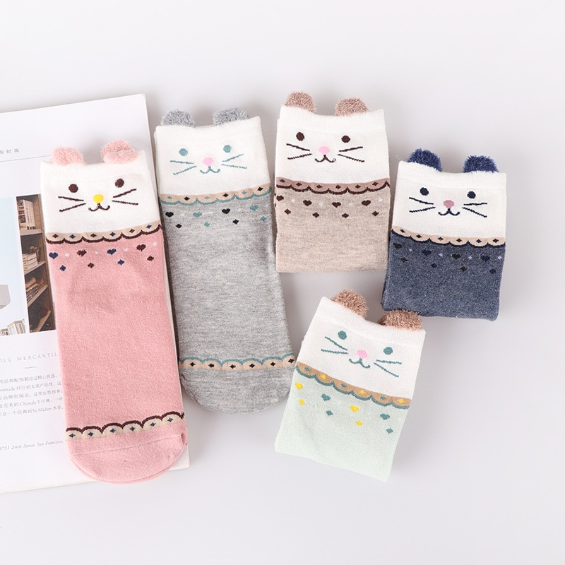 1 Pairs of Cute Little Animal Pattern Adult Straight Board Socks Personality Funny Pure Cotton Breathable Simple Cartoon