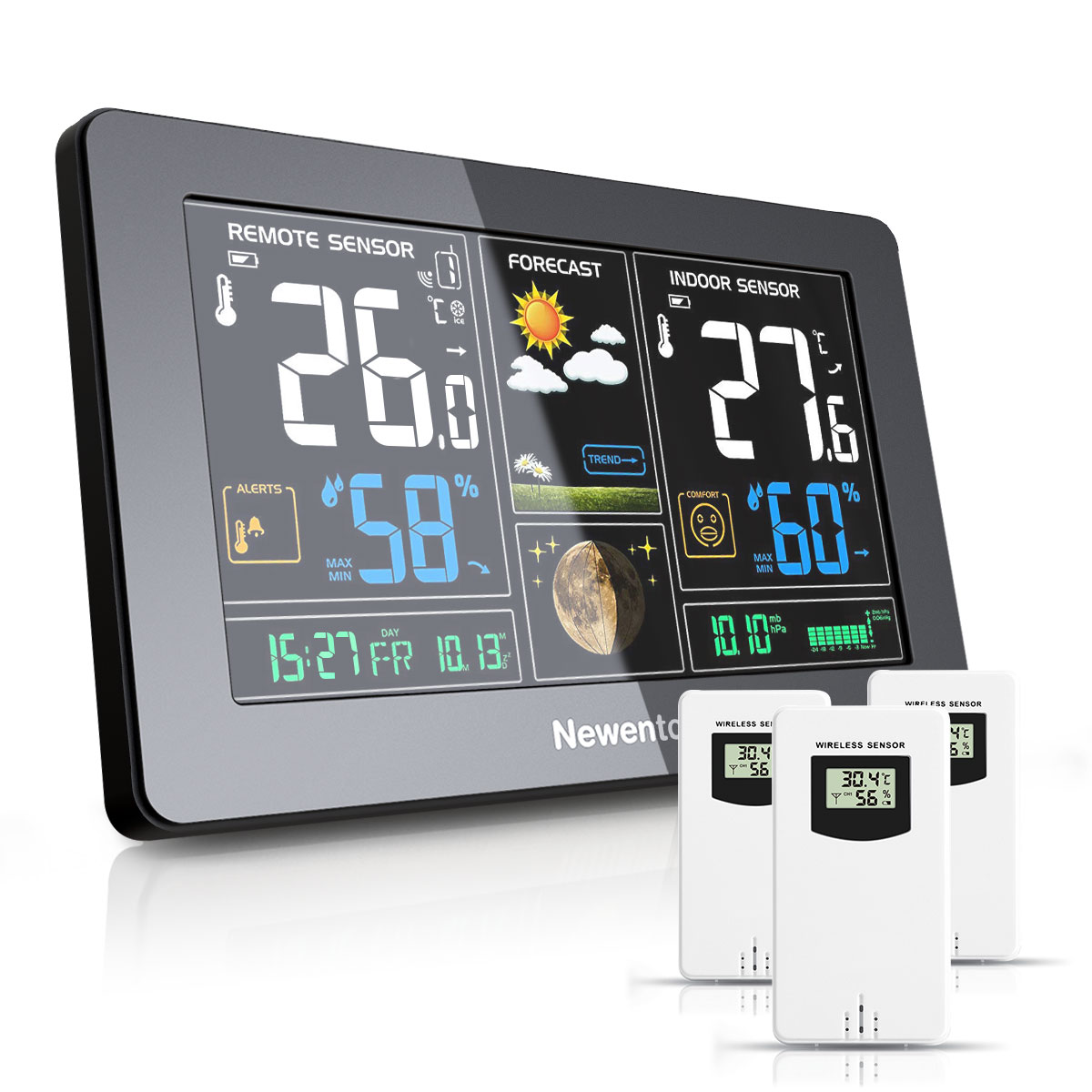 Newentor Large Display Weather Station Wireless Digital Indoor Outdoor Hygrometer Humidity Temperatu