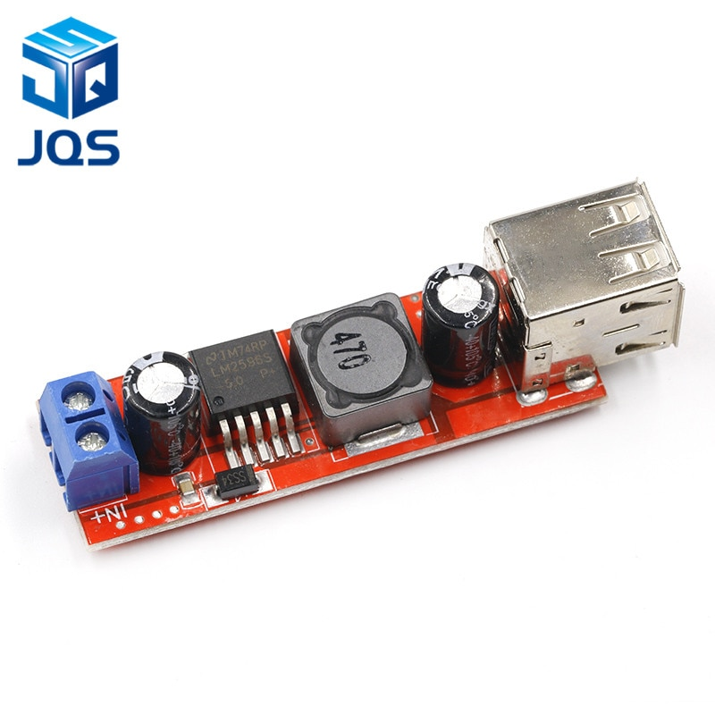 CC 6V-40V a 5V 3A, doble carga USB, módulo convertidor de bajada de DC-DC para cargador de vehículo LM2596, USB Dual