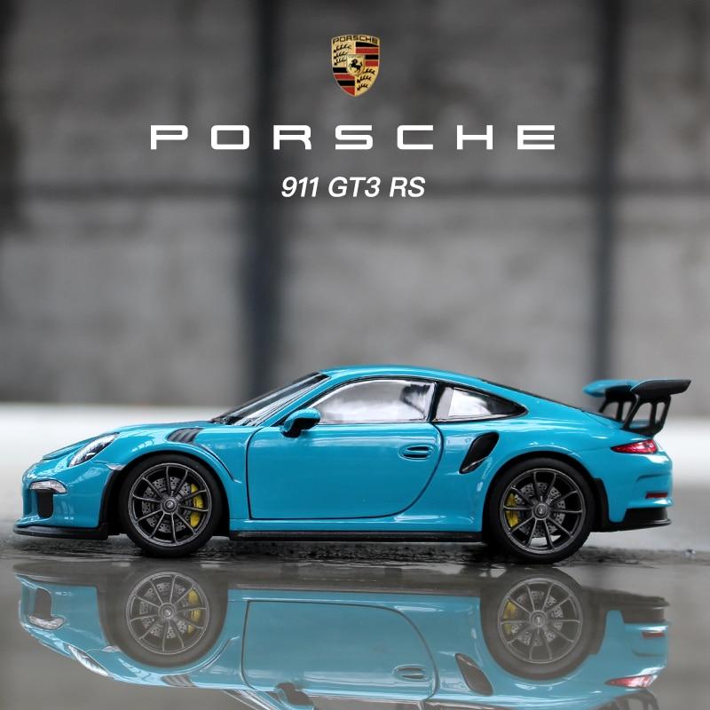 Welly 1:24 بورش 911 GT3 RS سيارة زرقاء سبيكة نموذج سيارة محاكاة مجموعة الديكور سيارة هدية لعبة يموت الصب نموذج لعبة الصبي