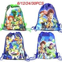 6/12/24/30PCS Disney Toy Story Theme drawstring bag children travel school bag birthday party decor non-woven fabric gift bags