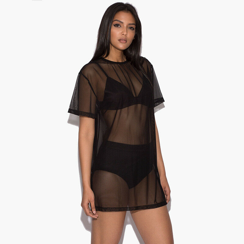 Women Black Mesh Sheer Beach Bikini Cover Up Ladies Sexy Short Sleeve Pullover Casual Loose Mini Dress T-Shirts Plus size Summer