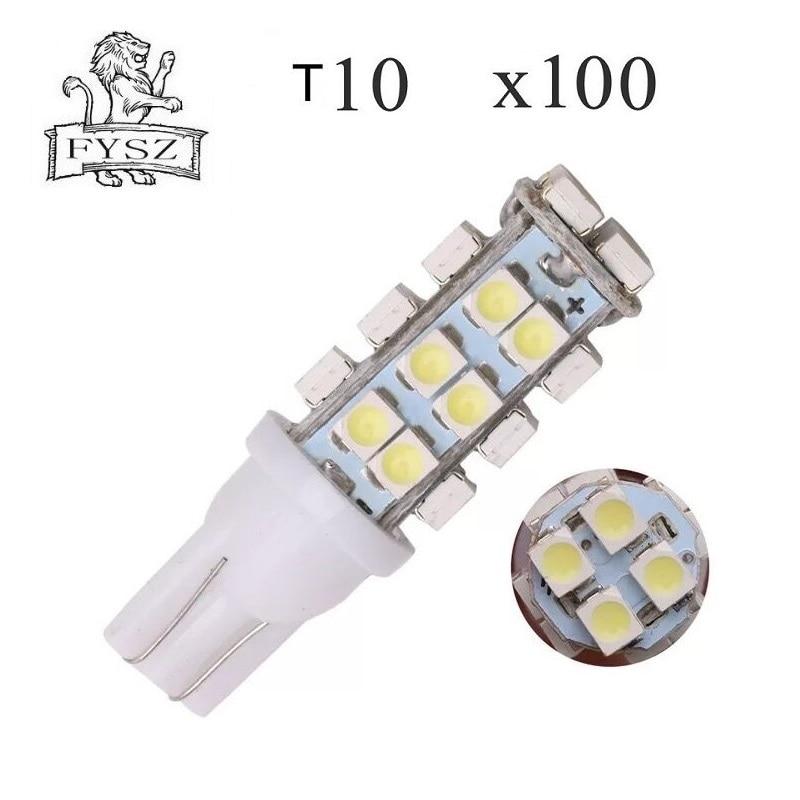 100 Uds T10 LED W5W 1206 28 smd 12V bombillas para coche separación automática cuña lateral lámparas t10 28 led luz blanca trasera