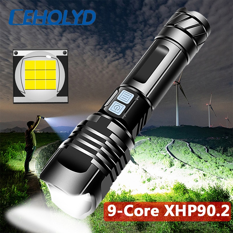 XHP99 Powerful LED Flashlight USB Rechargeable Tactical Torch 3 mode XHP70.2 Zoomable 18650 26650 Battey light with Powerbank