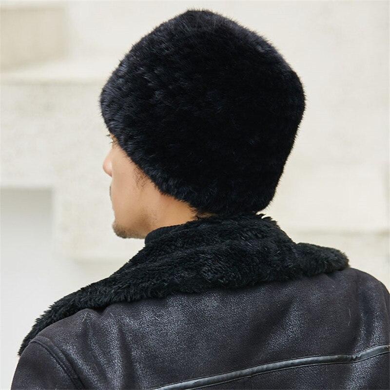 Mink Woven Hat Men's Winter Outdoor Hedging Cap Mink Fur Straw Ear Cap Warm Hat