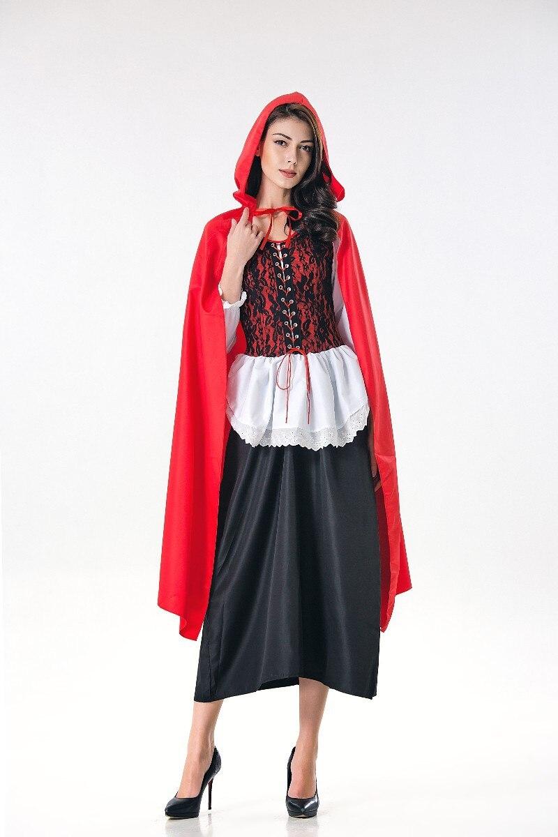 Disfraz rojo pequeño para adulto con capucha, disfraz de Halloween para mujer, disfraz de fantasía para fiesta, Vestido largo con capa, disfraz de Halloween