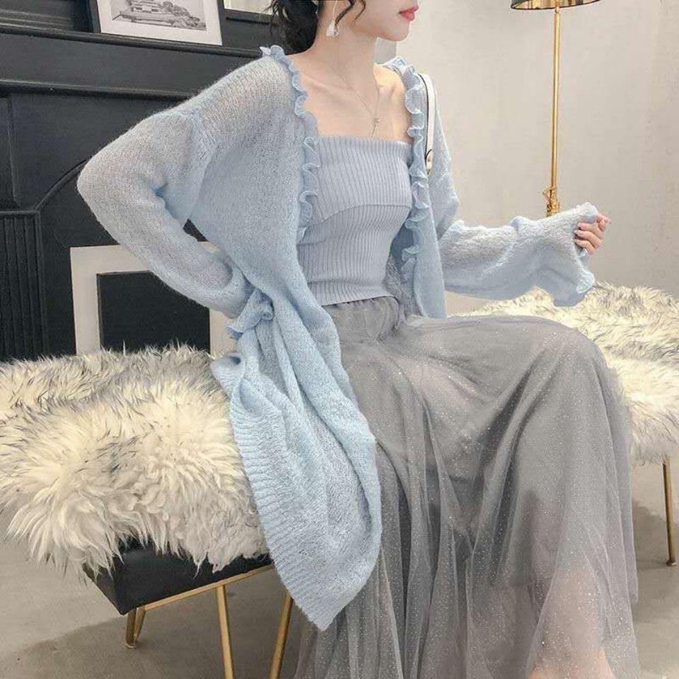 Length knitted cardigan sweater 2021 Korean thin coat loose female student length knitted cardigan s