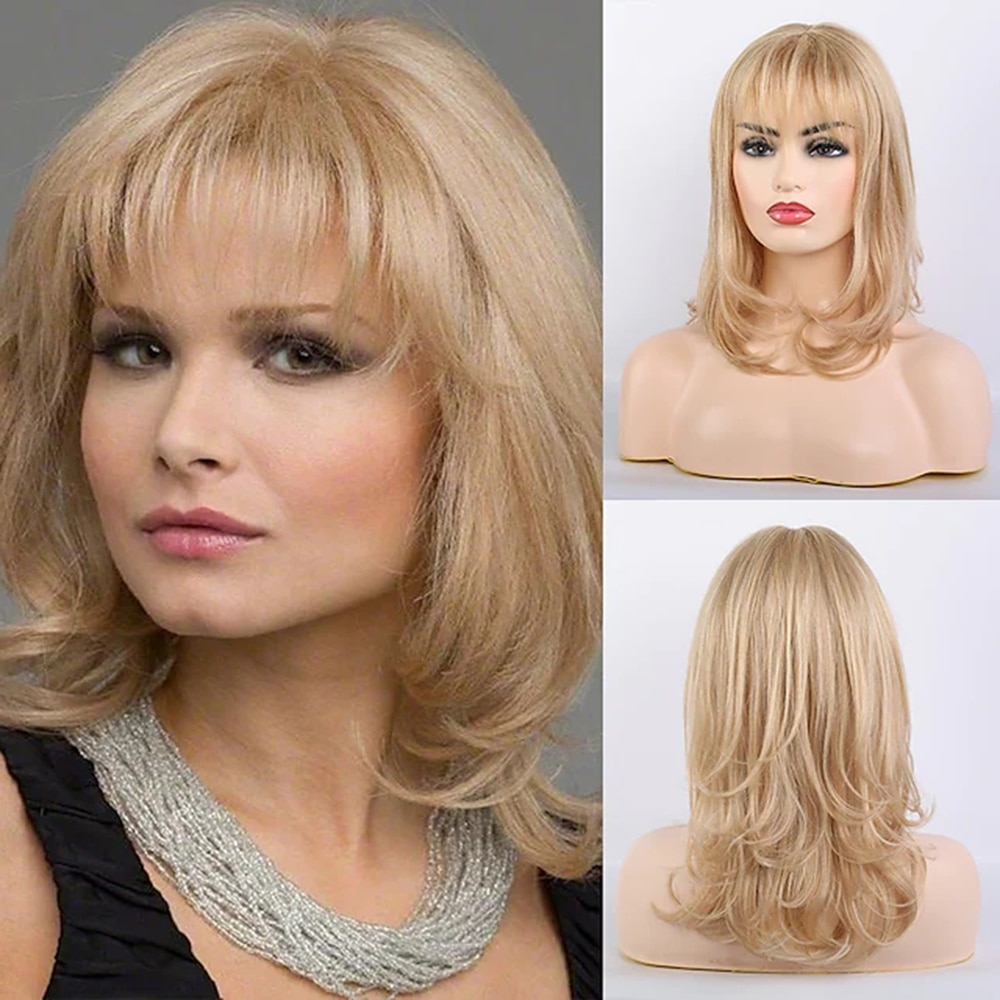 Remy Human Hair Wig Very Long Curly Body Wave Layered Haircut Neat Bang With Bangs Blonde Women Natural Hairline African wig