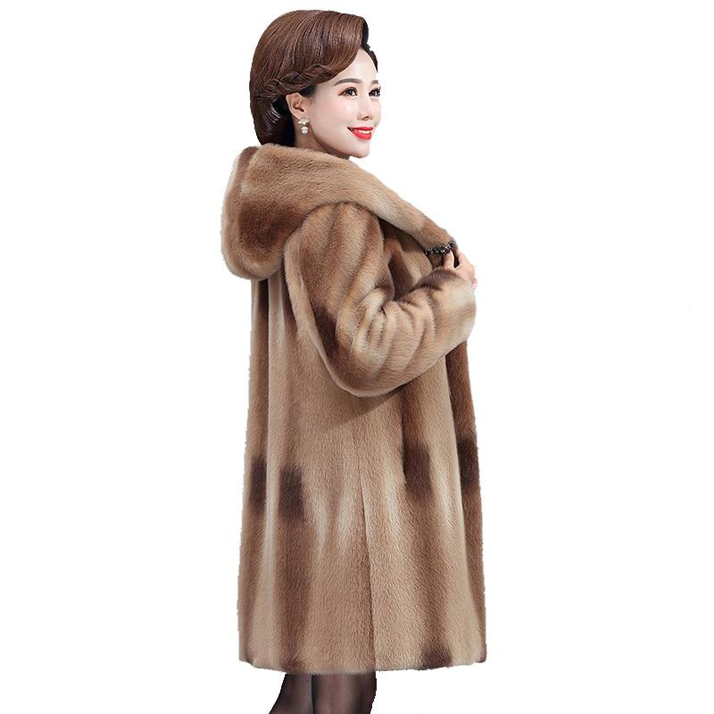 Winter mid-length mink velvet coat women middle-aged women plus size warm hooded my coats autumn gold Parker coat women overcoat
