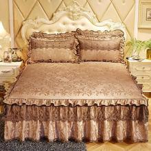 3 pièces couvre-lits européen luxe lit jupe épaissir belle Cal King Size literie Havy draps couvre-lits Queen/King Size