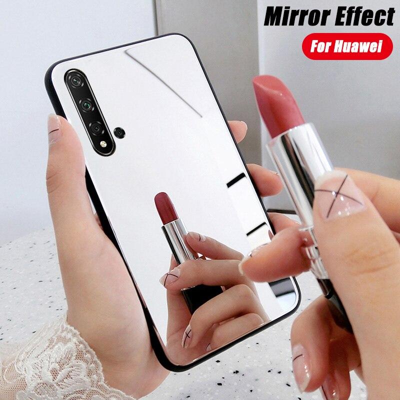 Étui miroir pour Huawei P30 P20 Lite Pro Mate 20 Nova 5T P Smart Z Y6 Y7 Y9 Prime 2019 Honor 10i 20S 20 9X placage souple housse en TPU