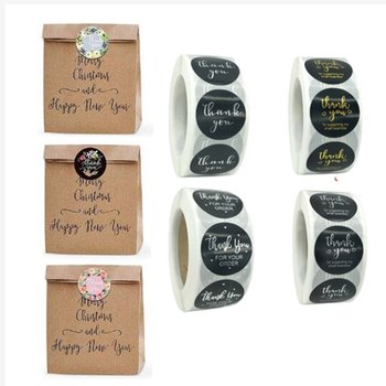 1 Inch - 500Pcs Roll Thank You Flower Stickers 4