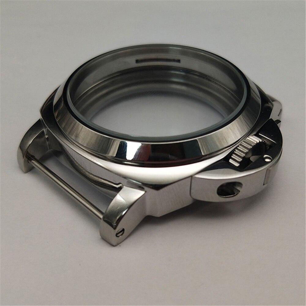 Case de Relógio Escudo para Eta 6498 para St36 Substituição Inoxidável Prata Polido 6497 – Assista Movimento 44mm Aço