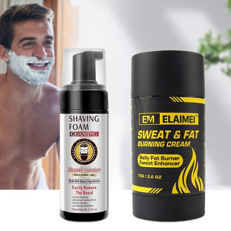 2Pcs/SET Beard Shaving Foam With Sweat Fat Burning Cream Belly Fat